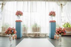 Beaux éléments de décoration de conception de cérémonie de mariage avec la voûte, Photographie stock libre de droits