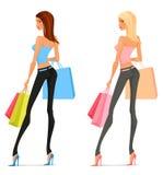 Beaux achats de jeune femme illustration stock