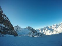 Beaux Alpes autrichiens dans Soelden, Tyrol, crête à 3 000 mètres de taille Photo stock