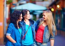Beaux amies sur la rue de ville de soirée Image libre de droits