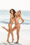 Beaux amis de sourire posant sur la plage Photos stock