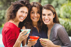 Beaux amis féminins faisant le visage à la partie Image stock