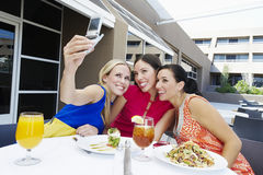 Beaux amis féminins prenant l'autoportrait Image stock