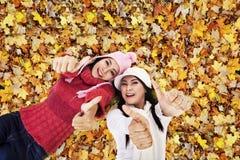 Beaux amis s'étendant sur des lames d'automne Photo stock