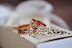 Beaux anneaux de mariage d'or sur le coussin Image libre de droits
