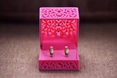 Beaux anneaux de mariage dans une boîte pour des décorations Image libre de droits