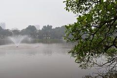 Beaux arbres au grand lac célèbre Hoan Kiem à Hanoï, Vietnam, Asie Photos stock