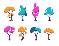 Beaux arbres colorés stylisés réglés illustration libre de droits