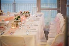 Beaux arrangements de table pour votre mariage Images libres de droits