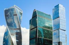 Beaux bâtiments modernes de la Moscou-ville de centre d'affaires image stock