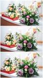 Beaux bouquets des fleurs roses, sur la table Bouquets de mariage de différentes roses de couleurs Bouquets élégants de mariage s Images libres de droits