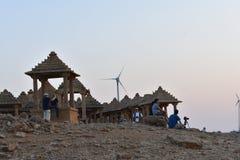 Beaux cénotaphes antiques des rois rawal dans l'Inde du Ràjasthàn de jaisalmer de baagh de bada photographie stock libre de droits