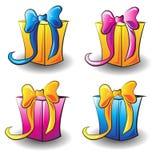 Beaux cadeaux carrés multicolores pour les vacances photos stock
