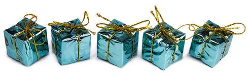 Beaux cadeaux de Noël d'isolement sur le fond blanc Photo stock