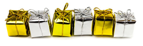 Beaux cadeaux de Noël d'isolement sur le fond blanc Images stock