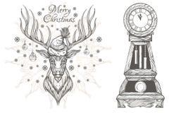 Beaux cerfs communs de Noël et horloge de vintage Images stock