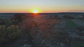 Beaux champs de paysage aérien de nature ruraux sous le coucher du soleil d'or banque de vidéos