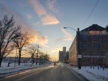 Beaux cieux à Detroit photos stock