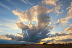 Beaux cirrus au coucher du soleil pour le fond Photographie stock libre de droits