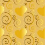 Beaux coeurs d'or avec la décoration florale dans la tuile sans couture de modèle illustration stock