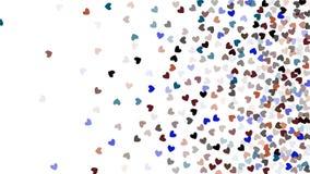 Beaux coeurs de confettis tombant sur le fond Conception de fond de calibre d'invitation, carte de voeux, affiche Jour de Valenti Photographie stock libre de droits