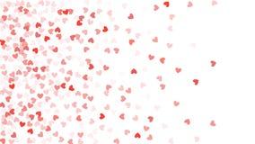 Beaux coeurs de confettis tombant sur le fond Conception de fond de calibre d'invitation, carte de voeux, affiche Jour de Valenti Photos libres de droits