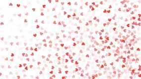 Beaux coeurs de confettis tombant sur le fond invitation Photographie stock