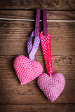 Beaux coeurs de crochet images stock