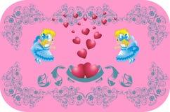 Beaux coeurs entourés par des anges Illustration de Vecteur