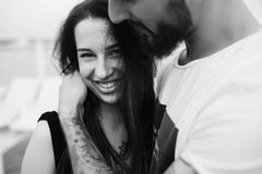 Beaux couples à l'angle étroit Images libres de droits