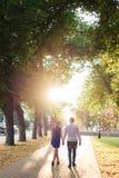 Beaux couples dans l'amour avec une femme marchant en parc sur un banc embrassant au coucher du soleil et s'aimant, une robe bleu Image stock