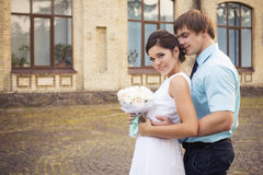 Beaux couples dans l'amour Jour du mariage Robe de mariage Tiffany bl Photo libre de droits