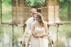 Beaux couples dans l'amour s'embrassant sur le mariage de jour, se tenant en parc dehors près du lac Photographie stock libre de droits