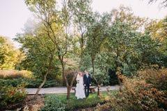 Beaux couples dans l'amour tenant doucement des mains le jour du mariage Beau fond européen de parc Images libres de droits