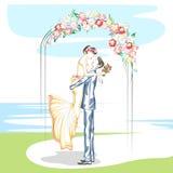 Beaux couples dans la cérémonie de mariage Images libres de droits