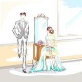 Beaux couples dans la cérémonie de mariage Photographie stock