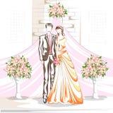 Beaux couples dans la cérémonie de mariage Photo stock