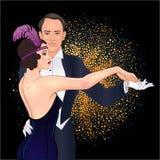 Beaux couples dans le tango de danse de style d'art déco Rétro mode : illustration libre de droits