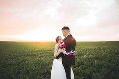 Beaux couples de mariage, amour sur le coucher du soleil Fielf avec des fleurs Photos libres de droits