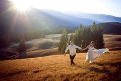 Beaux couples de mariage courant et ayant l'amusement sur le champ entouré par des montagnes Photographie stock