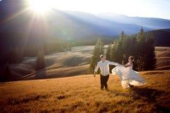 Beaux couples de mariage courant et ayant l'amusement sur le champ entouré par des montagnes Photos stock