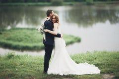 Beaux couples de mariage embrassant et embrassant près du lac avec l'île Photographie stock libre de droits