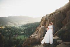Beaux couples de mariage, jeunes mariés, dans l'amour sur le fond des montagnes Photo libre de droits