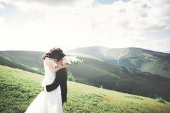 Beaux couples de mariage, jeunes mariés, dans l'amour sur le fond des montagnes Photographie stock libre de droits