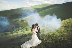 Beaux couples de mariage, jeunes mariés, dans l'amour sur le fond des montagnes Image stock