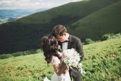 Beaux couples de mariage, jeunes mariés, dans l'amour sur le fond des montagnes Photo stock
