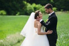 Beaux couples de mariage sur la nature Photographie stock libre de droits