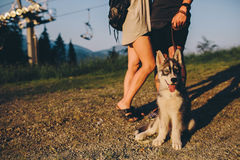 Beaux couples de photo dans les montagnes Photo libre de droits