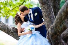 Beaux couples heureux de baiser dans l'amour Image libre de droits