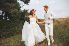 Beaux couples les épousant dans un domaine d'été photo stock